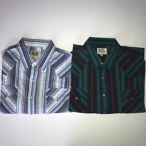 (2) Ely Cattleman Striped Pearl Snap Long Sleeves